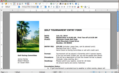 Golf Tournament Entry Forms